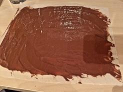 Schokolade schmelzen und dünn auf ein Backpapier streichen