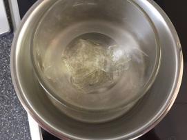Gelatine in Wasser einfachen und dann im Wasserbad verflüssigen